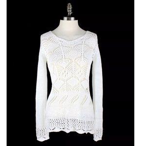 Boston Proper BEACH Crochet Tunic Long Sleeve top